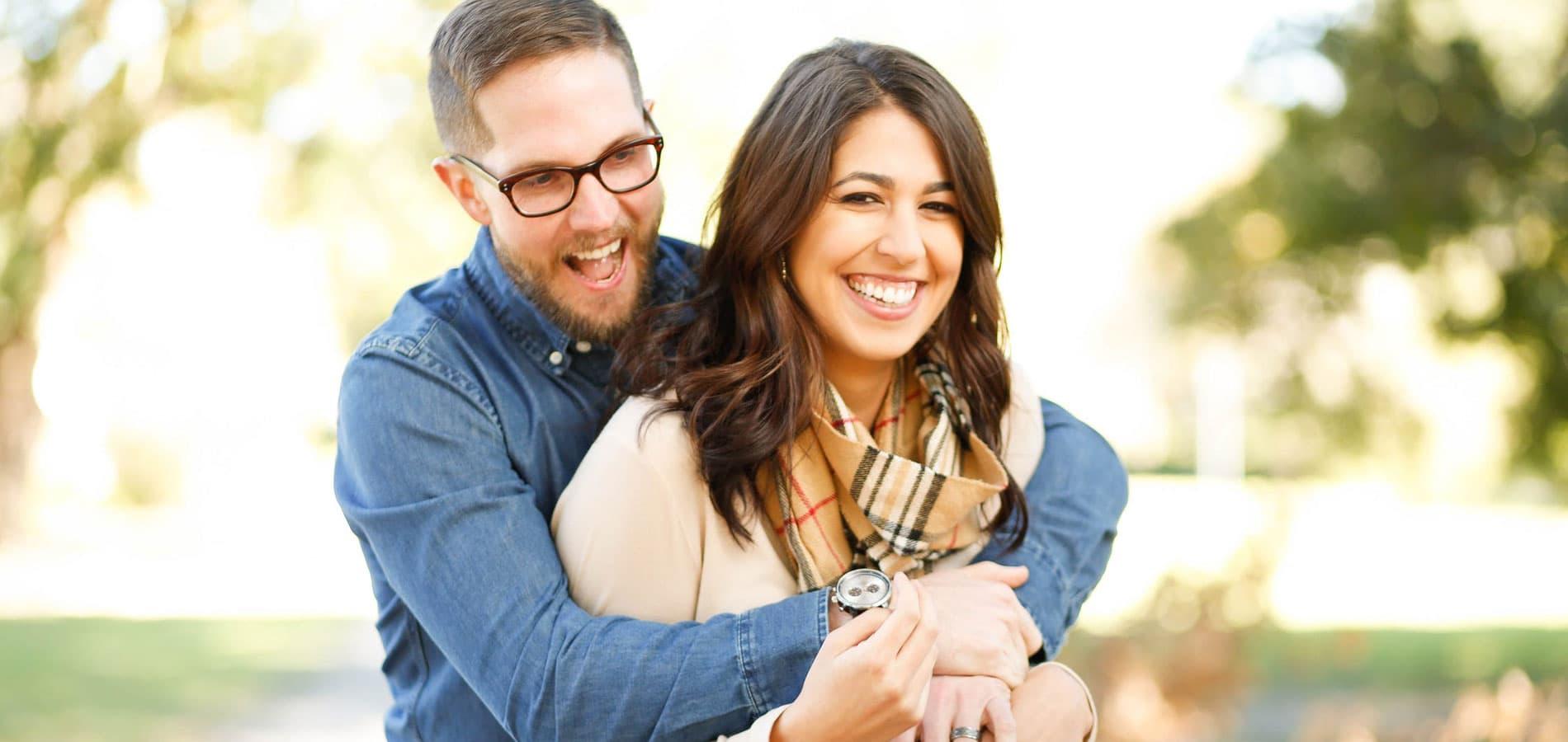 Smile Happiness Hugging Man Woman